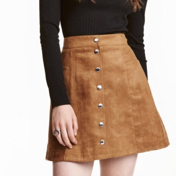847e5f11d2 H&M Dresses & Skirts - H&M Button Front Brown Suede Skirt